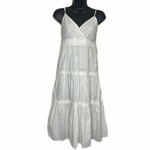 Magic White Ruffled Sleeveless Midi Dress Medium
